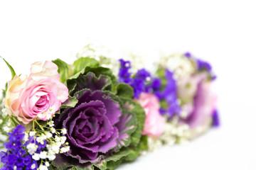 Blumendekoration blau rosa 6
