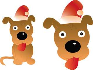 Funny dog with christmas hat - illustration cartoon