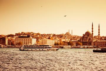 Fototapete - Passenger ships in Istanbul, Turkey