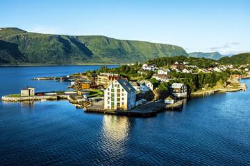 Tuinposter Scandinavië Sea view on island in Norwegian fjords, Alesund, Norway.
