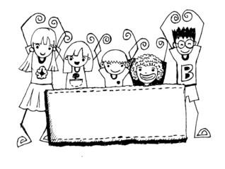 Cute cartoon kids  frame background