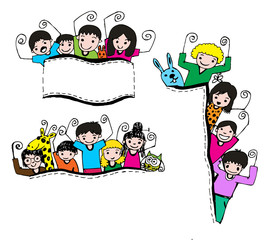 Cute cartoon kids  frame background
