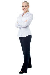 Successful business lady posing confidently