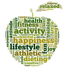 Word cloud related to healthy lifestyle in shape of apple