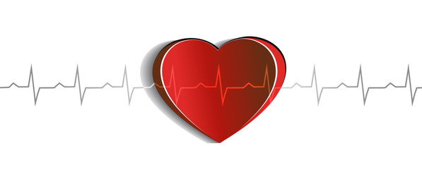 Heart and cardiogram beautiful abstract design