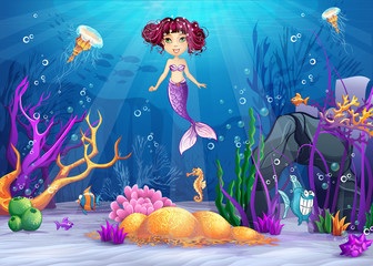 Illustration of the underwater world with a mermaid