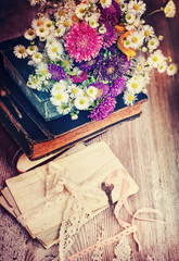 Albums with Photos of Memories,flowers,lettres and key