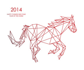 Canvas Prints Geometric animals Chinese new year of the Horse triangle web shape file.