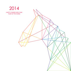 Canvas Prints Geometric animals Chinese new year of the Horse triangle lines illustration.