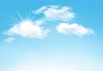 Blue sky with clouds and sun. Vector background