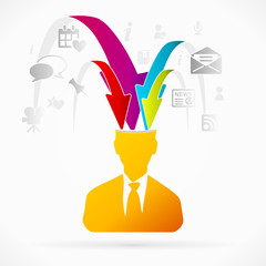 Abstract avatar vector illustration about overloaded brain