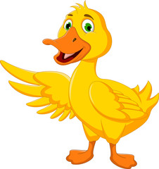 cute duck cartoon posing