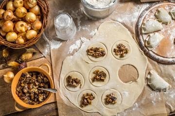 Homemade dumplings with wild mushrooms