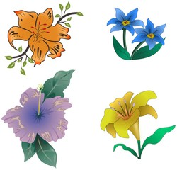 Small set of four cartoon colored flowers