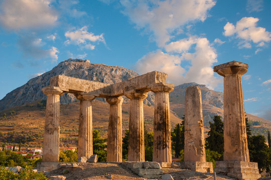Ruins of Appollo temple with fortress, Corinth, Greece