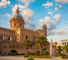 Cathedral of Palermo during sunset, Sicily island, Italy
