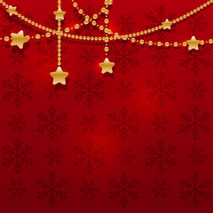 Christmas golden garland on red