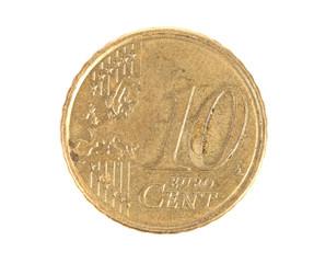 Close up of ten euro cent.