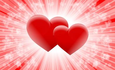 Fototapeta dwa serca na czerwonym tle obraz