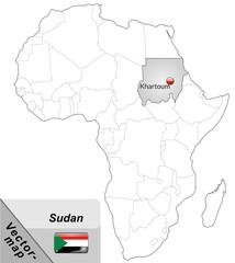Inselkarte von Sudan mit Hauptstädten in Grau