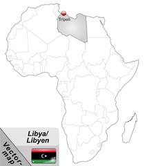 Inselkarte von Libyen mit Hauptstädten in Grau