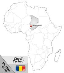 Inselkarte von Tschad mit Hauptstädten in Grau