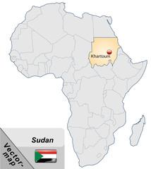 Inselkarte von Sudan mit Hauptstädten in Pastelorange