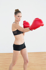 Concentrated fit woman wearing boxing gloves while posing in spo