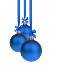 composition from three blue christmas balls hanging on ribbon
