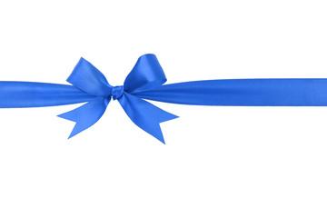 handmade blue ribbon bow horizontal border