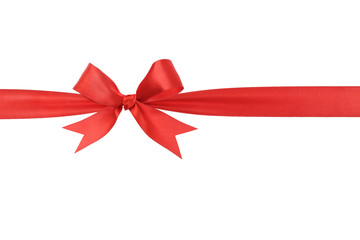 handmade red ribbon bow horizontal border