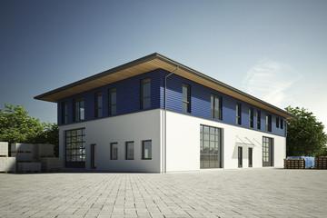 Gewerbehalle mit blauer Fassade