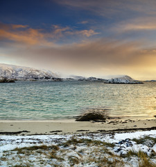 Wall Mural - Arctic sea.Autumn sunset.Northern Norway.