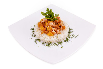 chicken  with orange in a  steamed rise