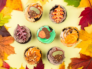 Cupcakes with Autumn Leaves