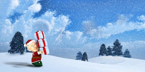 Cute Santa elf on a winter Landscape