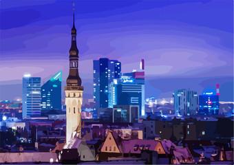 drawing, vector. Night Tallinn. Estonia