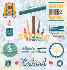 Vector Set: Back to School Labels and Icons