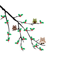 vector owls sitting in the tree