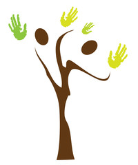 vector tree with hands