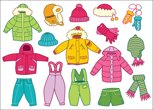 collection of winter children's clothing (coloring book)