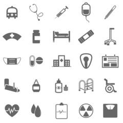 Hospital icons on white background