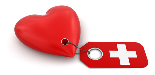 Heart with Swiss flag (clipping path included)