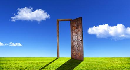 Surreal door on grass