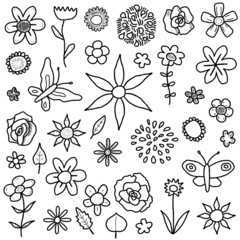 Doodle flowers - cartoon set