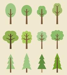 Tree icons - cartoon set