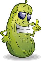 Pickle Wearing Sunglasses Cartoon Character