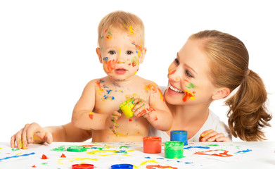 mother and baby paint colors hands dirty isolated on white