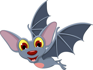 Cartoon Halloween bat flying