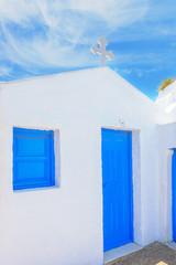 Fototapete - Greece Santorini island panoramic view of colorful whitewased ha